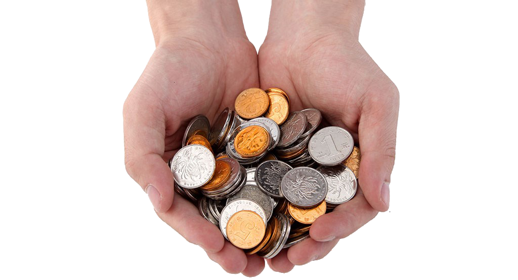 Hand holding money png. Coin hands coins image