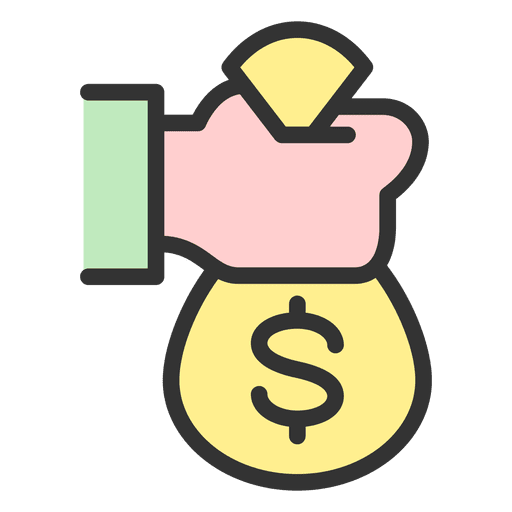 Bag transparent svg vector. Hand holding money png