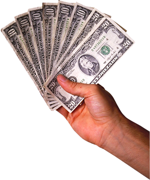 cash in for. Hand money png