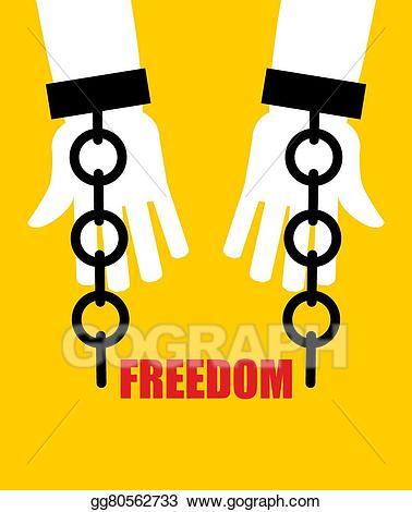 Vector freedom fetters liberation. Handcuffs clipart broken chain