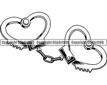 Handcuff clipart heart. Handcuffs etsy