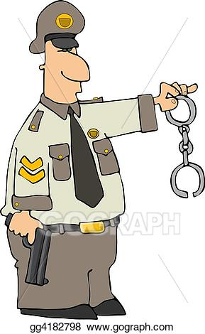 Handcuffs clipart police officer. Stock illustration cop with