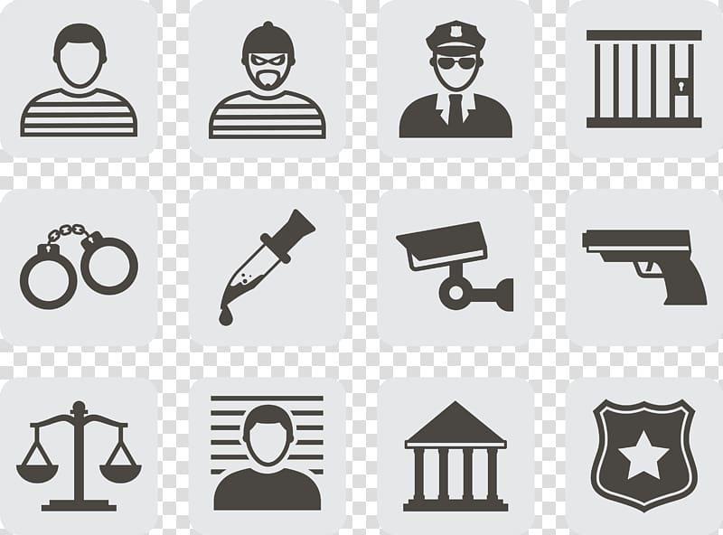 Justice symbols crime icon. Handcuffs clipart criminal court