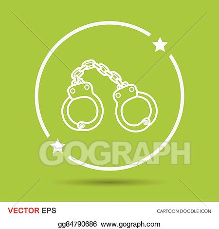 Handcuffs clipart doodle. Vector illustration stock clip