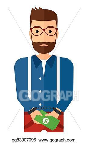 Handcuffs clipart handcuffed man. Vector art for crime