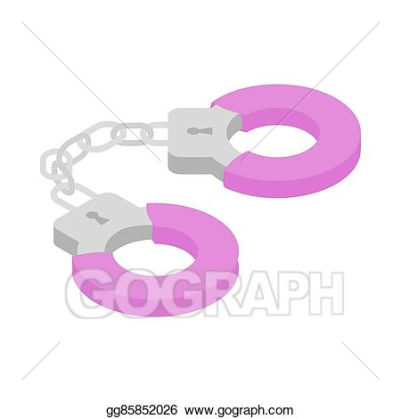 Stock illustration icon isometric. Handcuffs clipart pink