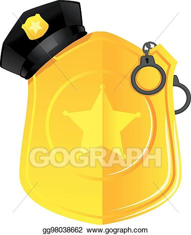 Vector illustration gold badge. Handcuffs clipart police cap