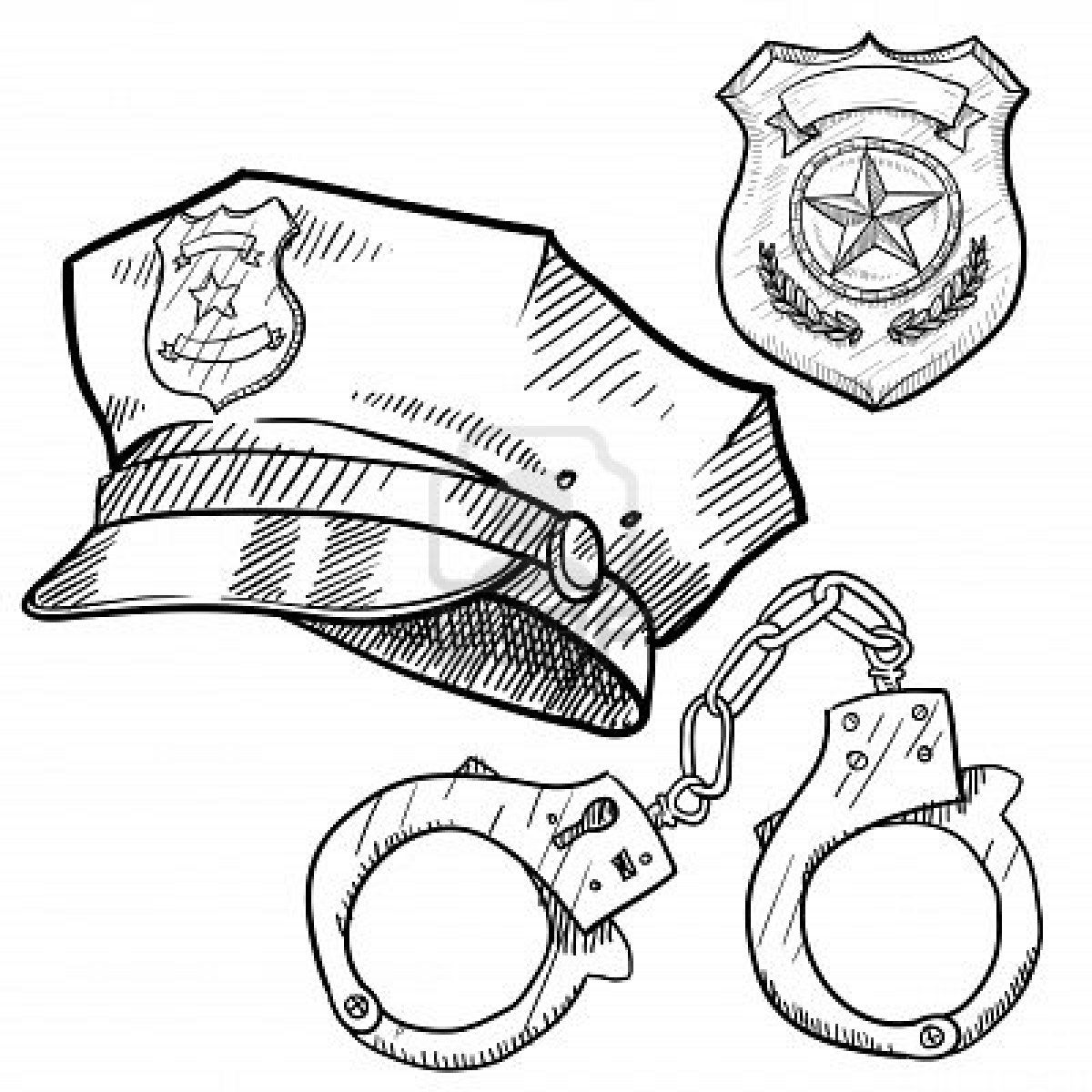Handcuffs clipart police cap. Stock photo in corrections