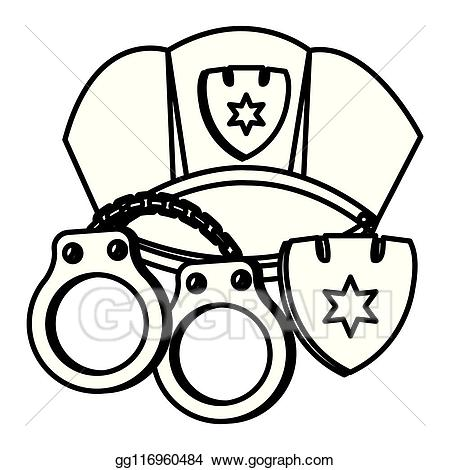 Vector art and eps. Handcuffs clipart police cap