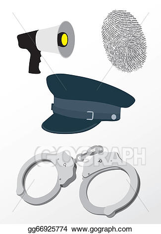 Vector illustration stock clip. Handcuffs clipart police equipment
