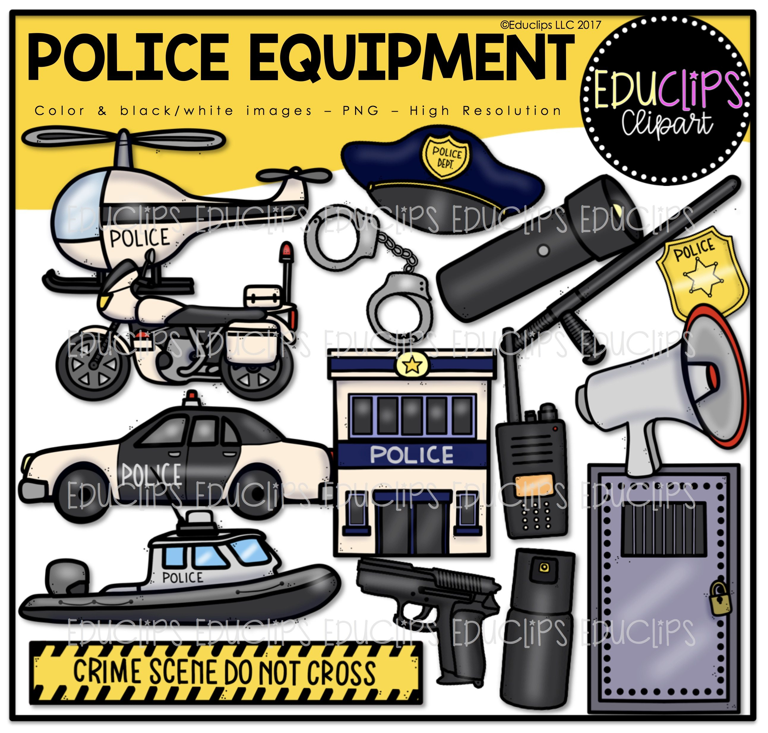 Clip art bundle color. Handcuffs clipart police equipment
