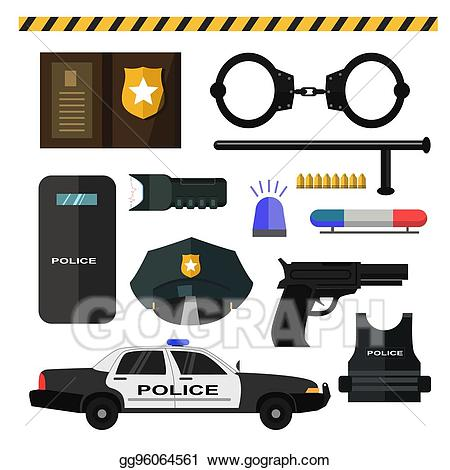 Handcuffs clipart police equipment. Vector illustration concept of
