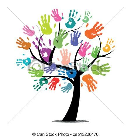 Handprint clipart. Tree royalty free illustrations