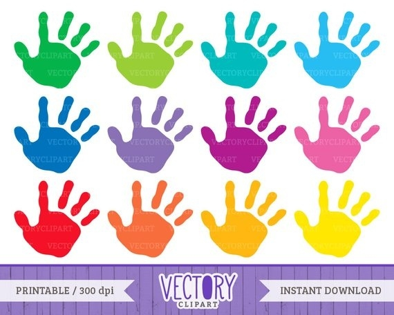set kids images. Handprint clipart