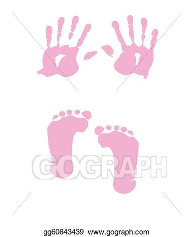 Eps illustration footprint vector. Handprint clipart baby girl