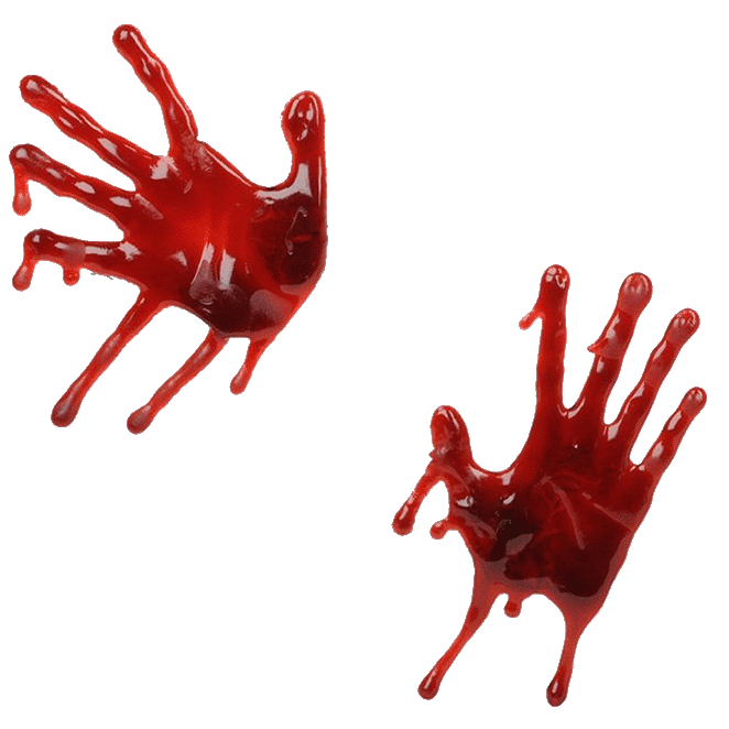Three isolated stock photo. Handprint clipart bloody