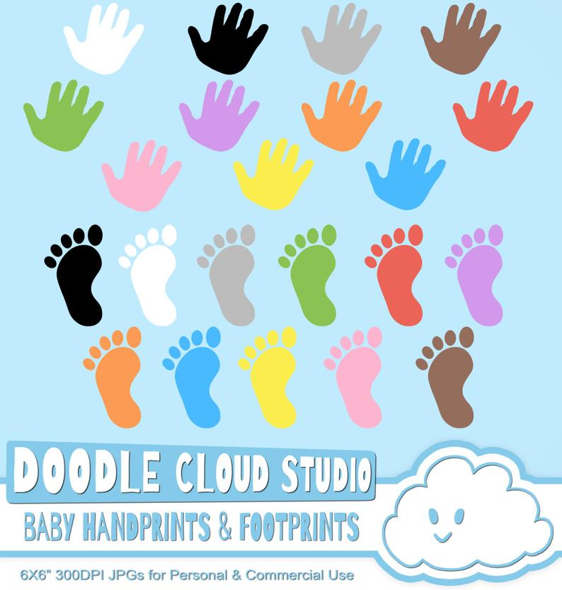 Handprint clipart blue baby. Colorful footprints handprints cliparts