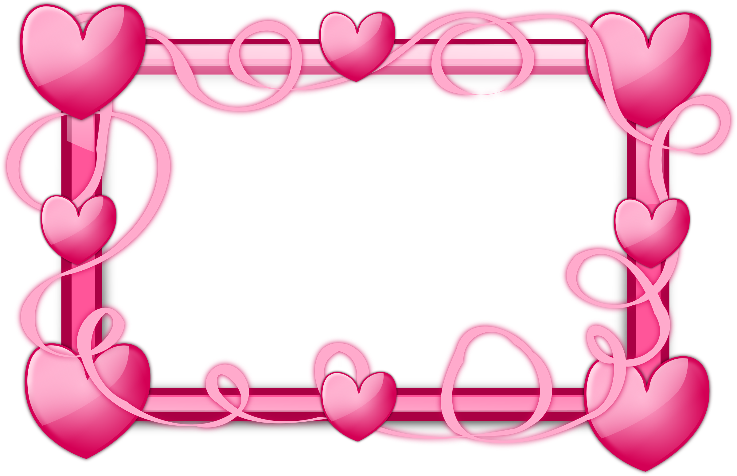 Streamers clipart frame. Pink hearts by inky