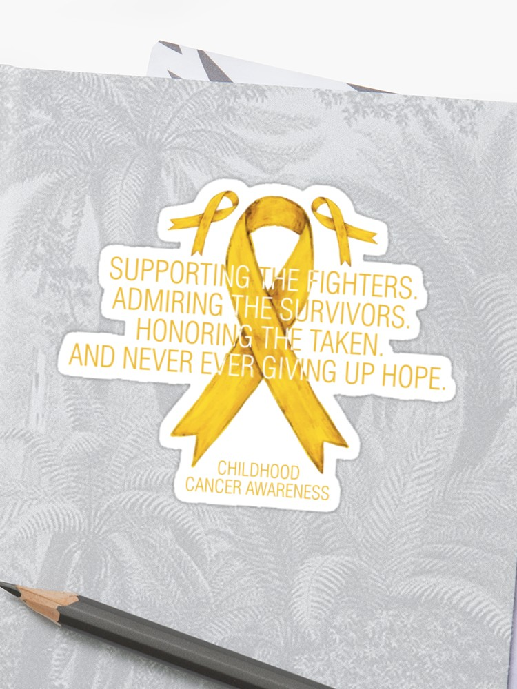Awareness supporting yellow ribbon. Handprint clipart childhood cancer