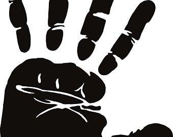 Hand print stencil etsy. Handprint clipart childhood cancer