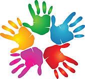 Hand print clip art. Handprint clipart circle