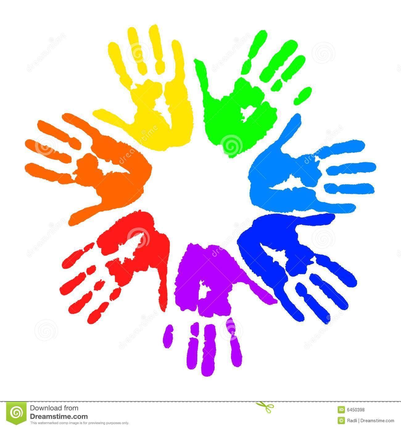 Handprint clipart circle. Pics for kids craft