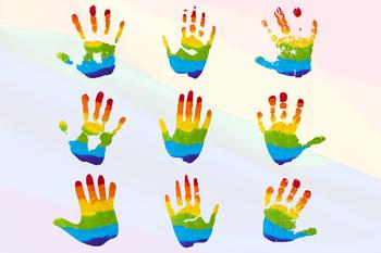Rainbow hands . Handprint clipart colored
