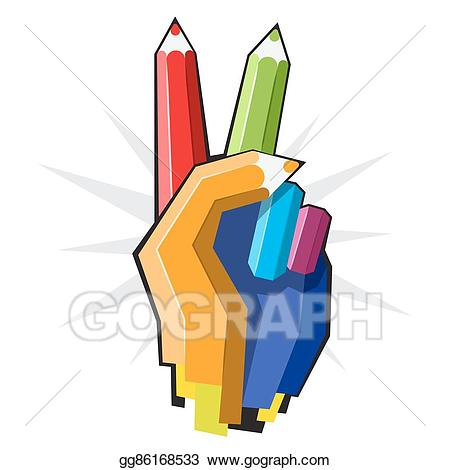 Vector illustration color hand. Handprint clipart colored pencil