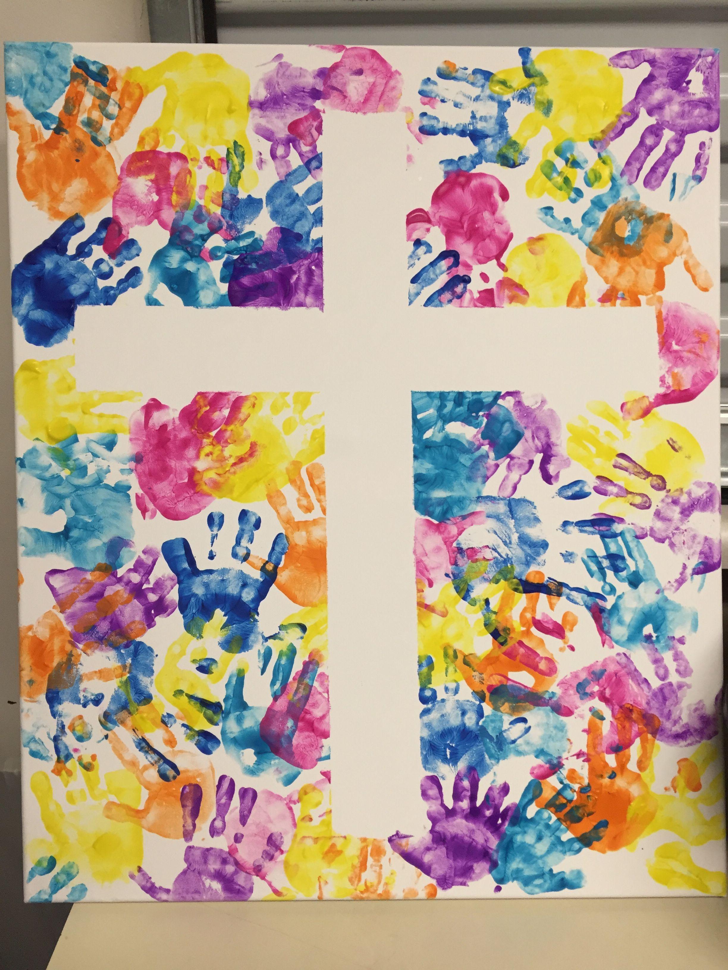 Handprint clipart cross. Made by nursery kids