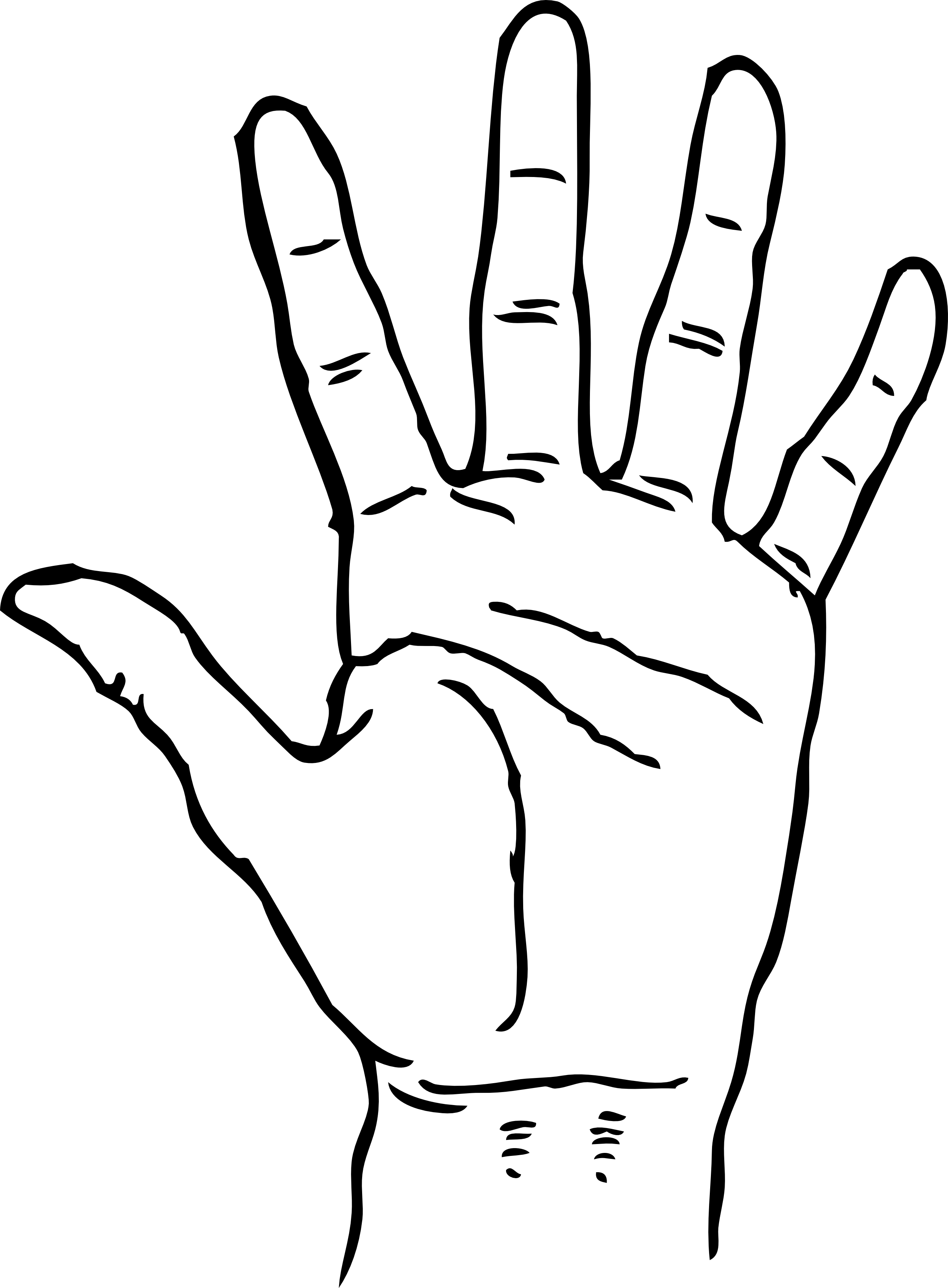 Coloring page group home. Handprint clipart draw
