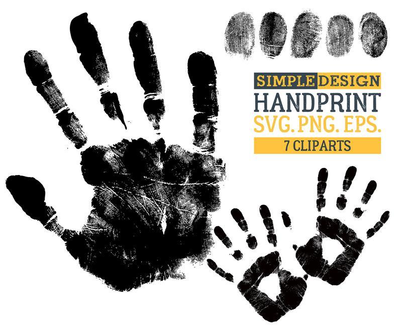 Hand print fingerprint thumb. Handprint clipart finger