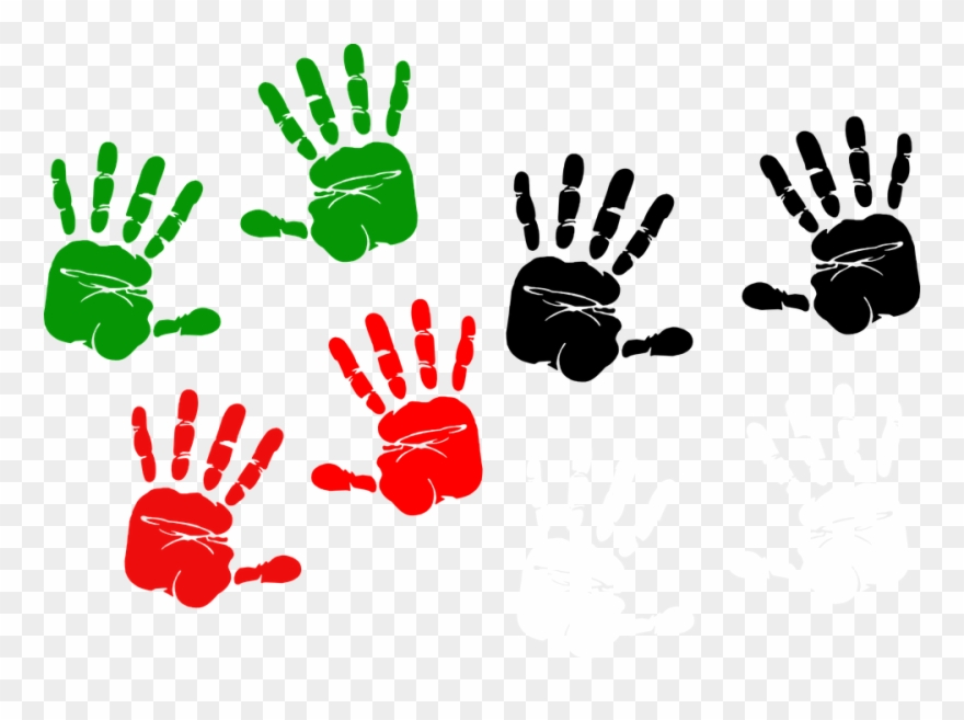 Handprint clipart finger. Paint red and green