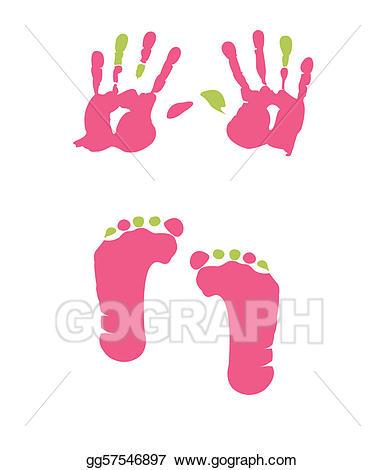 Handprint clipart footprint. Vector art and eps