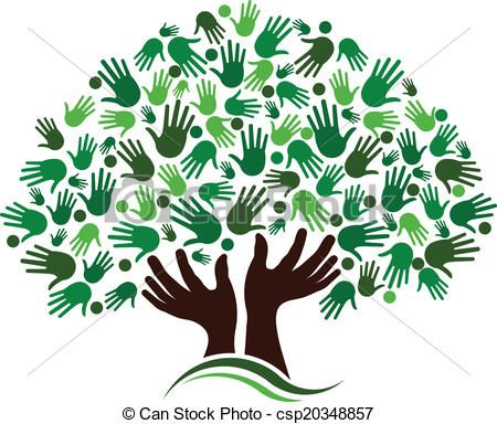 Vector connection image stock. Handprint clipart friendship tree
