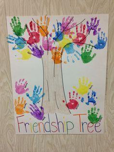 Handprint clipart friendship tree. Preschool teaches children about