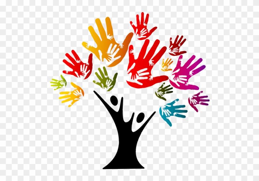 Hands of on tour. Handprint clipart friendship tree