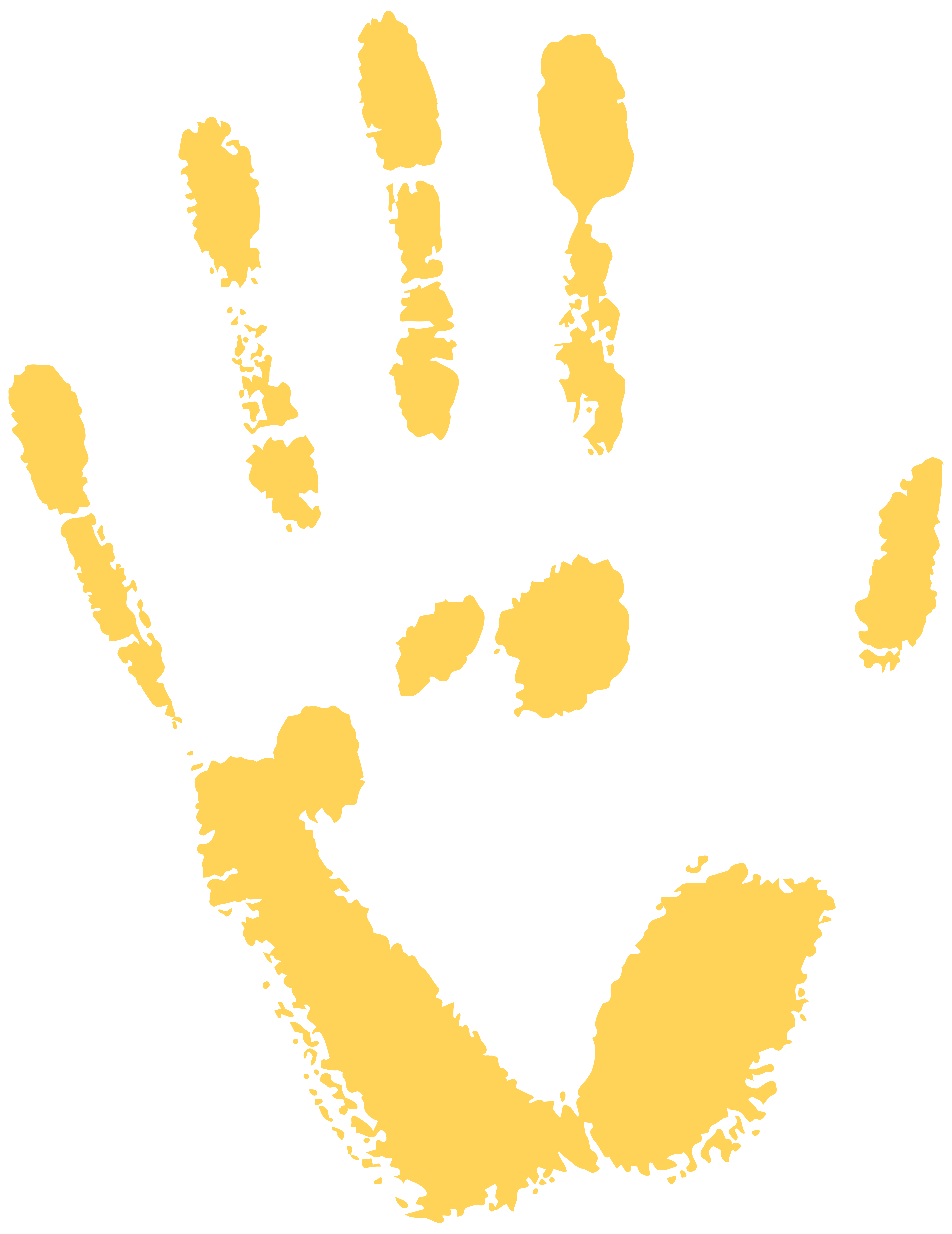 Handprint clipart gold. Yellow free png clip