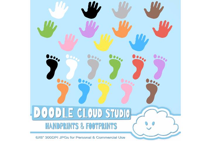 Colorful footprints handprints cliparts. Handprint clipart hand foot