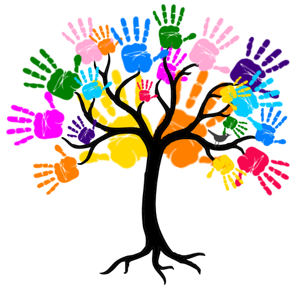 Teamwork clipart tree. Handprint flower free on