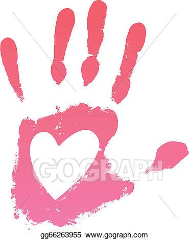 Eps vector stock illustration. Handprint clipart heart