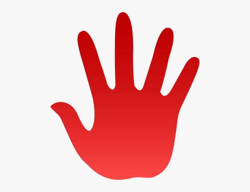 Handprint clipart high five. Red hand print clip