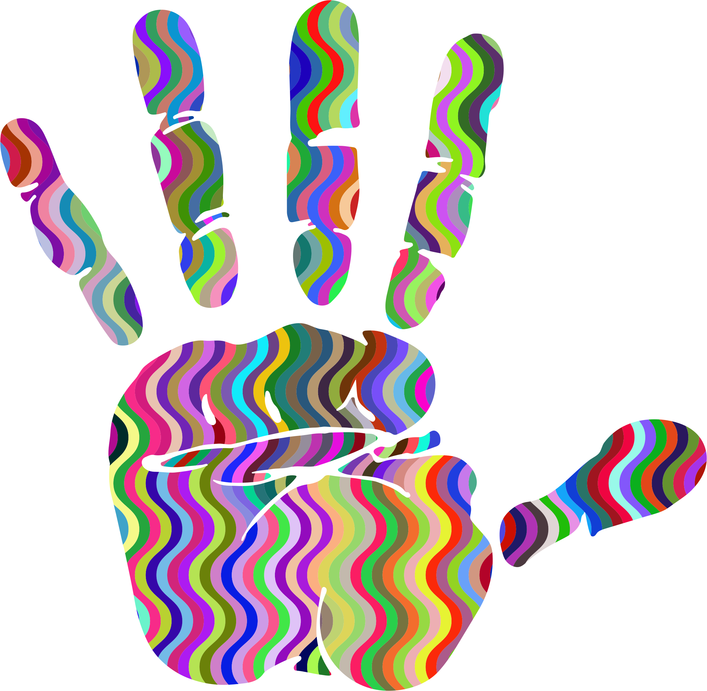 Handprint clipart human. Prismatic waves silhouette big