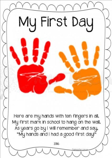 Handprint clipart kindergarten. A great first day