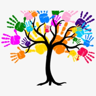 Friendship tree with hand. Handprint clipart little