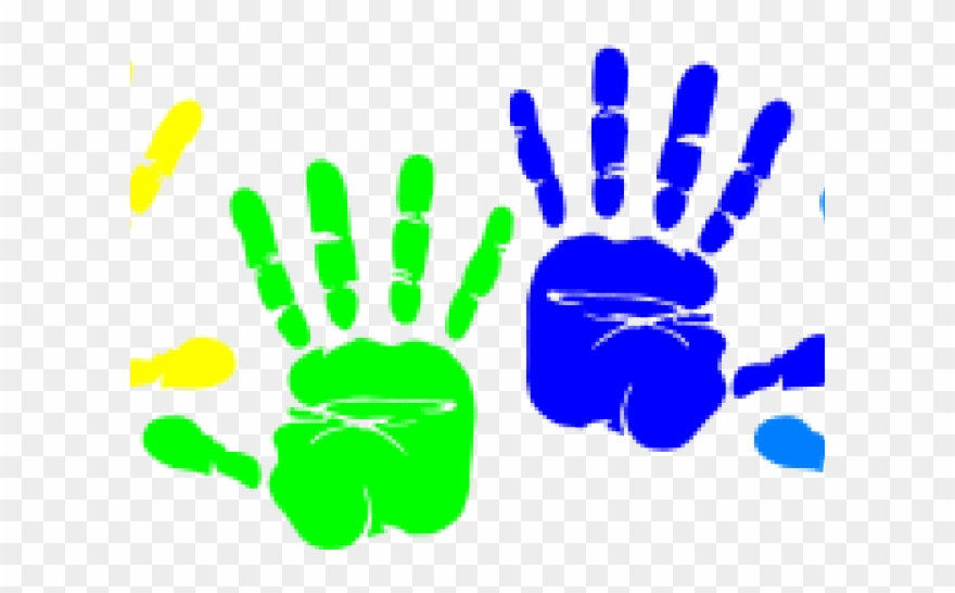 Colorful hand prints . Handprint clipart messy play