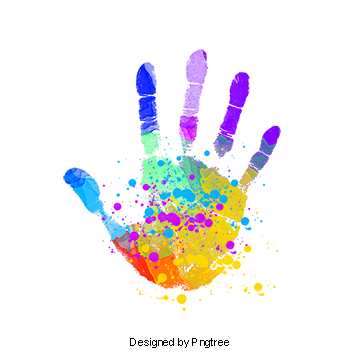 Handprint clipart multi colored. Free download png images
