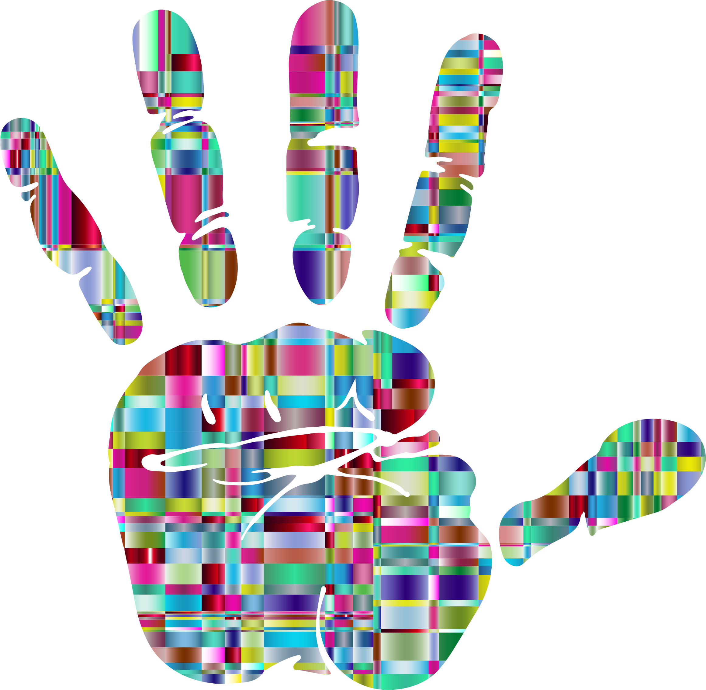 Handprint clipart newborn baby. Prismatic mosaic silhouette icons