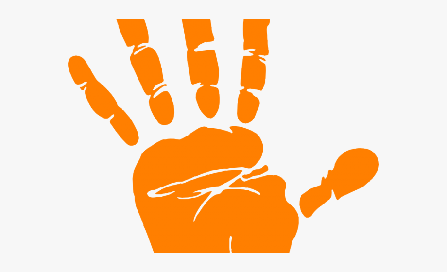 Cliparts hand print black. Handprint clipart orange