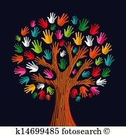 Colorful solidarity hand tree. Handprint clipart outdoor learning
