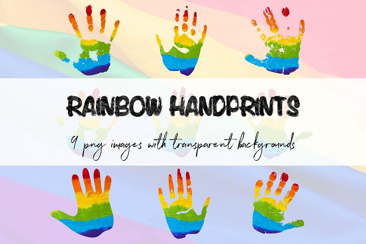 . Handprint clipart over rainbow